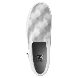 Silver Chrome Gray White Checkered Slip On Sneaker