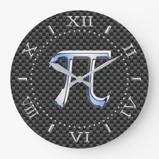 Silver Chrome Like Pi Symbol on Carbon Dial on a Large Clock