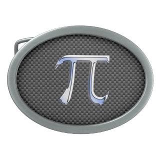 Silver Chrome Like Pi Symbol on Carbon Fiber Oval Belt Buckle