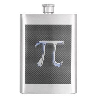 Silver Chrome Like Pi Symbol on Carbon Fiber Print Flask
