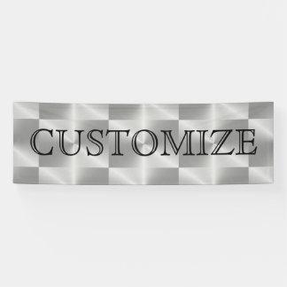 Silver Chrome Metal Geometric Modern Party Banner