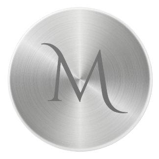 Silver Chrome Metal Monogram Drawer Pull Knob
