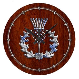Silver Chrome on Mahogany Wood Scottish Thistle Large Clock
