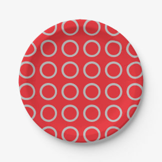 Silver Circles Red Paper Plate
