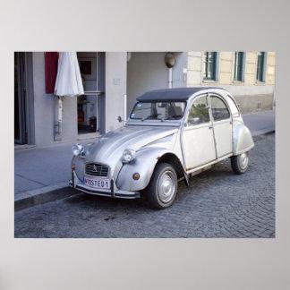 Silver Citroën 2CV Poster