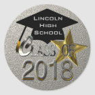 Silver Class Of 2018 Graduation Seal Sticker
