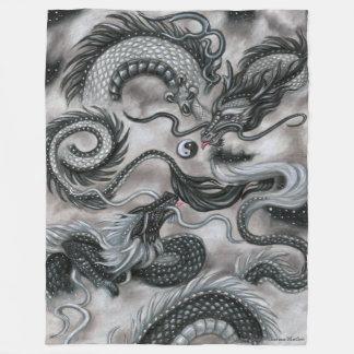 Silver Cloud Eastern Sky Dragon Fleece blanket