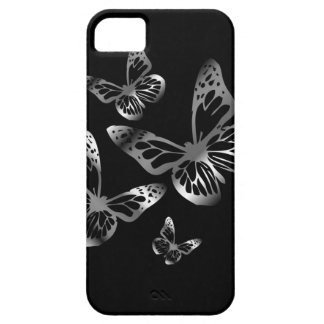 Silver colored butterflies flying iPhone 5 cases