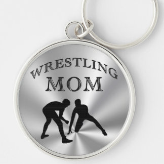 Silver Colored Wrestling Mom Gifts Keychains