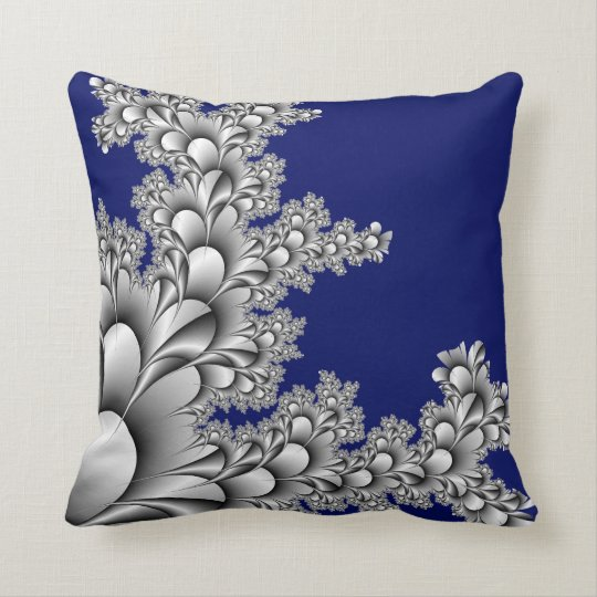 Silver Coloured Fractal on Midnight Blue Throw Pillow