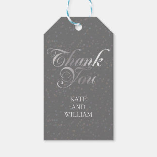 Silver Confetti and Script Thank You Gift Tags