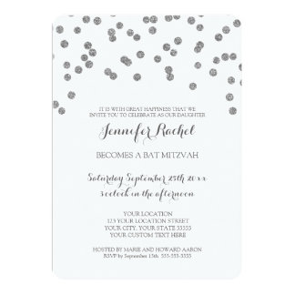Silver Confetti Bat Mitzvah Invitations