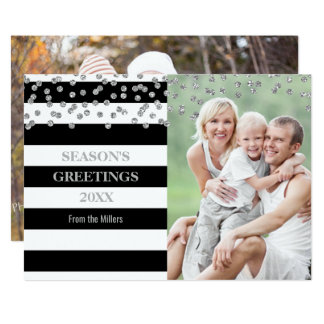 Silver Confetti Black Stripes Season's Greetings Card