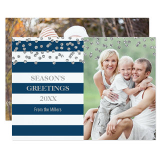 Silver Confetti Blue Stripes Season's Greetings Card