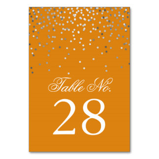 Silver Confetti Dots Orange Wedding Table Number