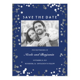 Silver Confetti Elegant Navy Photo Save the Date Postcard