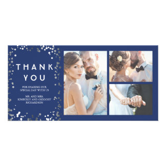 Silver Confetti Elegant Navy Wedding Thank You Photo Card Template