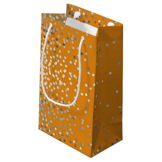 Silver Confetti Elegant Orange Vintage Wedding Small Gift Bag