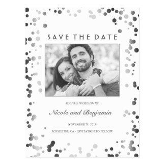 Silver Confetti Elegant White Photo Save the Date Postcard