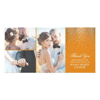 Silver Confetti Glamour Orange Wedding Thank You Personalized Photo Card