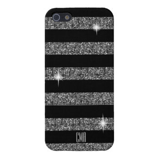 Silver Confetti Glitter & Black Stripes | Monogram Case For The iPhone 5