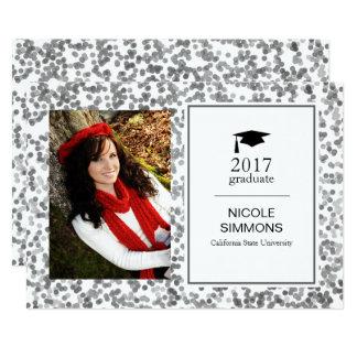 Silver Confetti Graduate Photo Card