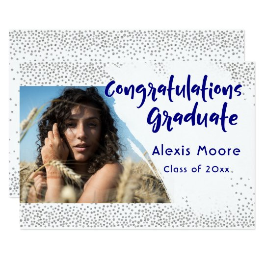 Silver Confetti/Navy Text Graduation Announcement