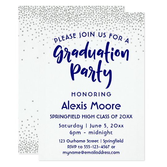 Silver Confetti & Navy Typography Grad Party, 2 Card