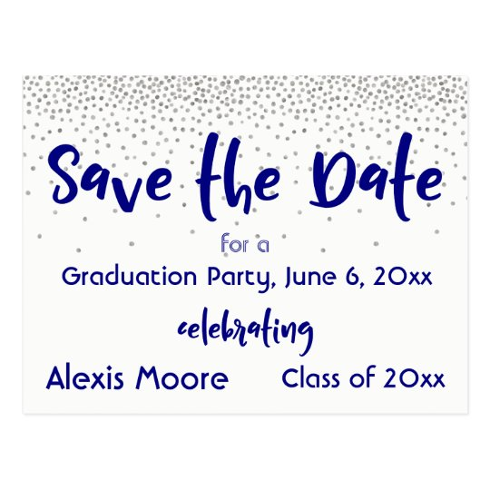 Silver Confetti Navy Typography Save the Date 2 Postcard