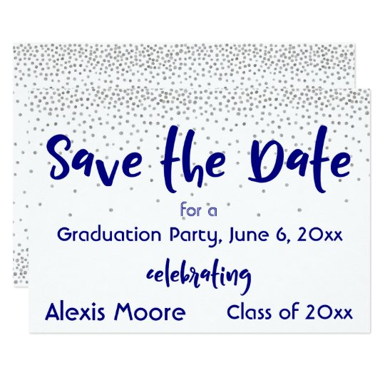 Silver Confetti Navy Typography Save the Date 2b Card