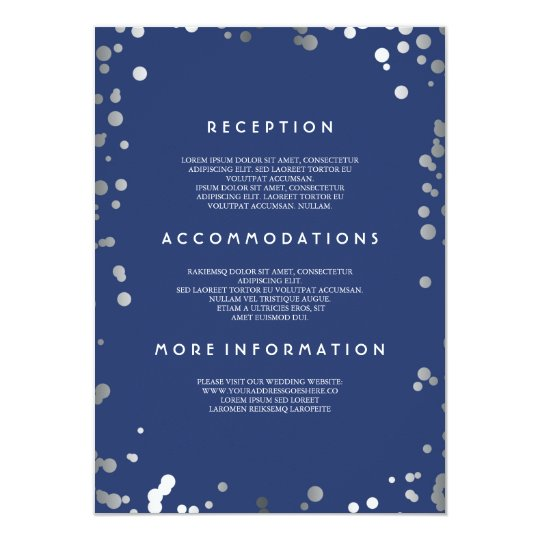 Silver Confetti Navy Wedding Details - Information Card