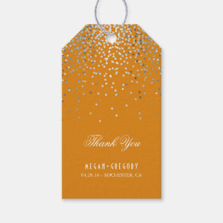 Silver Confetti Orange Wedding Thank You Pack Of Gift Tags