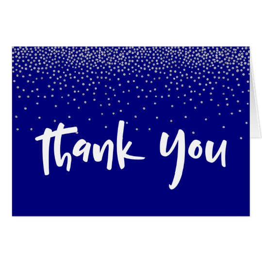 Silver Confetti Over Navy 1 Typography Thank You Card