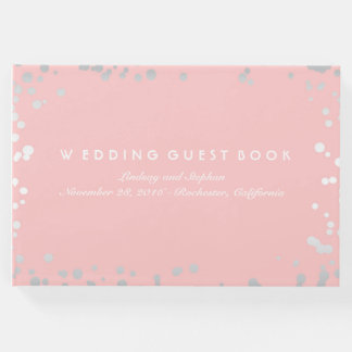 Silver Confetti Pink Blush Elegant Wedding Guest Book