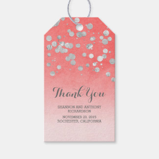 Silver Confetti Pink Wedding Gift Tags