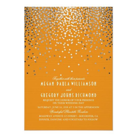 Silver Confetti - Starry Lights Orange Wedding Card