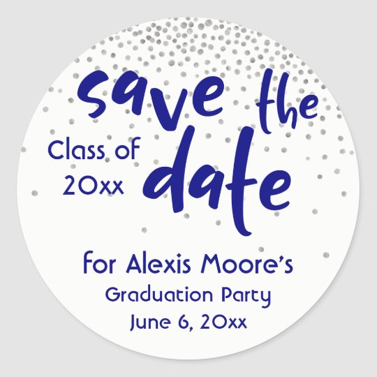 "Silver Confetti with Navy: Modern ""Save the Date"" Classic Round Sticker"