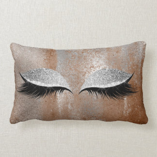Silver Copper Glitter Lashes Makeup Eye Distressed Lumbar Pillow