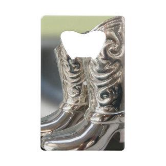 Silver Cowboy boots Credit Card Bottle Opener