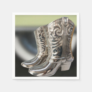 Silver Cowboy boots Disposable Napkins