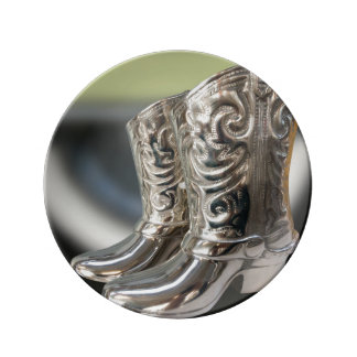 Silver Cowboy boots Plate