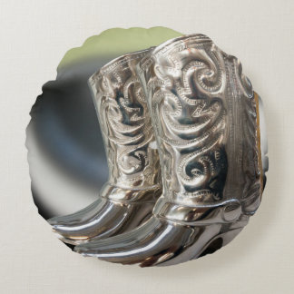 Silver Cowboy boots Round Pillow