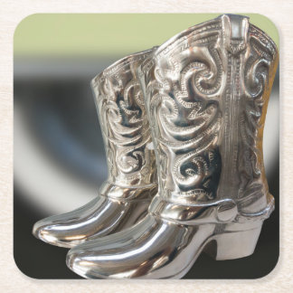Silver Cowboy boots Square Paper Coaster