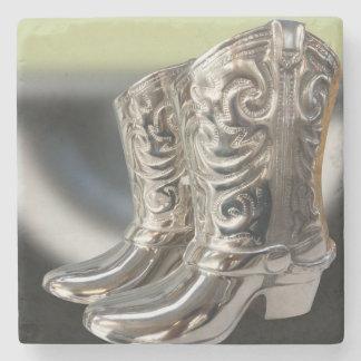 Silver Cowboy boots Stone Coaster