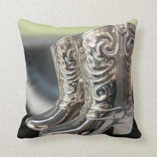 Silver Cowboy boots Throw Pillow