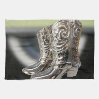 Silver Cowboy boots Towels