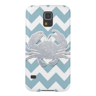 Silver Crab Silhouette, Blue Chevron Pattern Galaxy S5 Covers