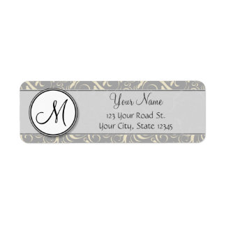Silver Cream Floral Wisps & Stripes with Monogram