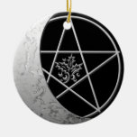 Silver Crescent Moon & Pentacle #7 Christmas Ornaments
