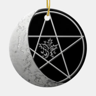Silver Crescent Moon & Pentacle #7 Round Ceramic Ornament